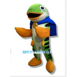 Cartoon Big Mouth Green Fish Mascot Costume