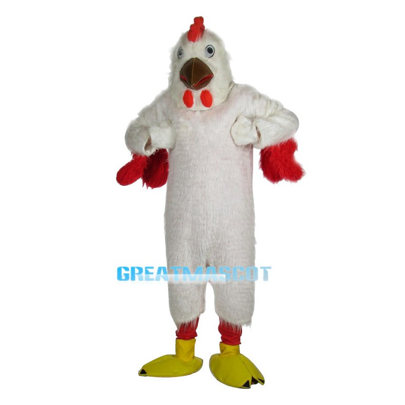 White Rooster Long Fur Mascot Costume