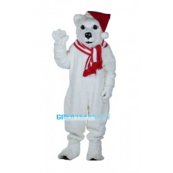 New Custom Made Christmas White Bear Mascot Adult Costume