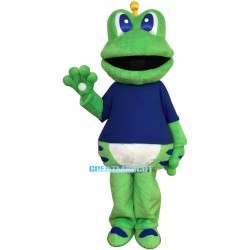 Cartoon Blue Eyed Frog Mascot Adult Costume
