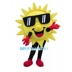 Smiling Cartoon Sun Mascot Costume With Sunglasses