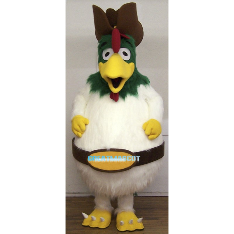 Long Fur Green Head Rooster Mascot Costume