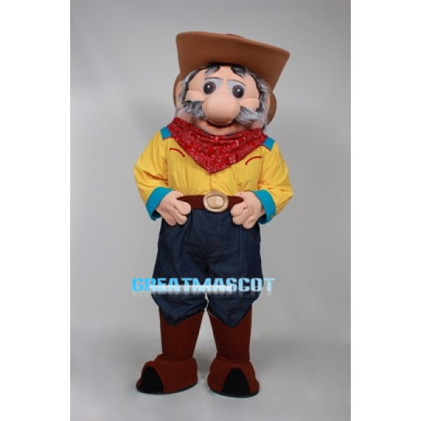 Amiable Old Cowboy Mascot Costume