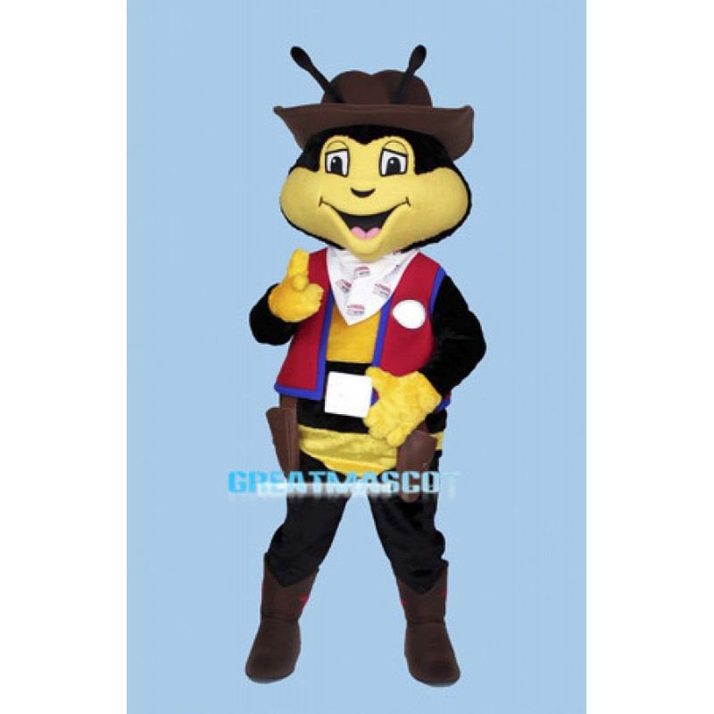 Lovely Cartoon Bee Cowboy Mascot Adult Costume