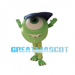 Big-eyed Monster Mike Wazowski Mascot Cartoon Character Costume Adult Size