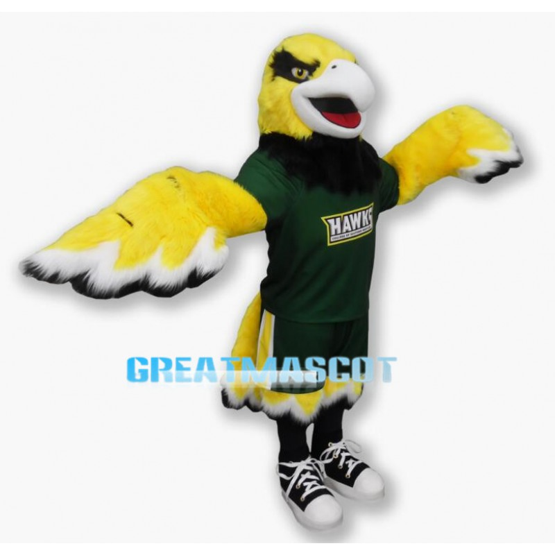 College Basketball Yellow Hawk Mascot Costume