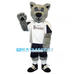 Long Plush Gray Wolf High School Mascot Adult Costume