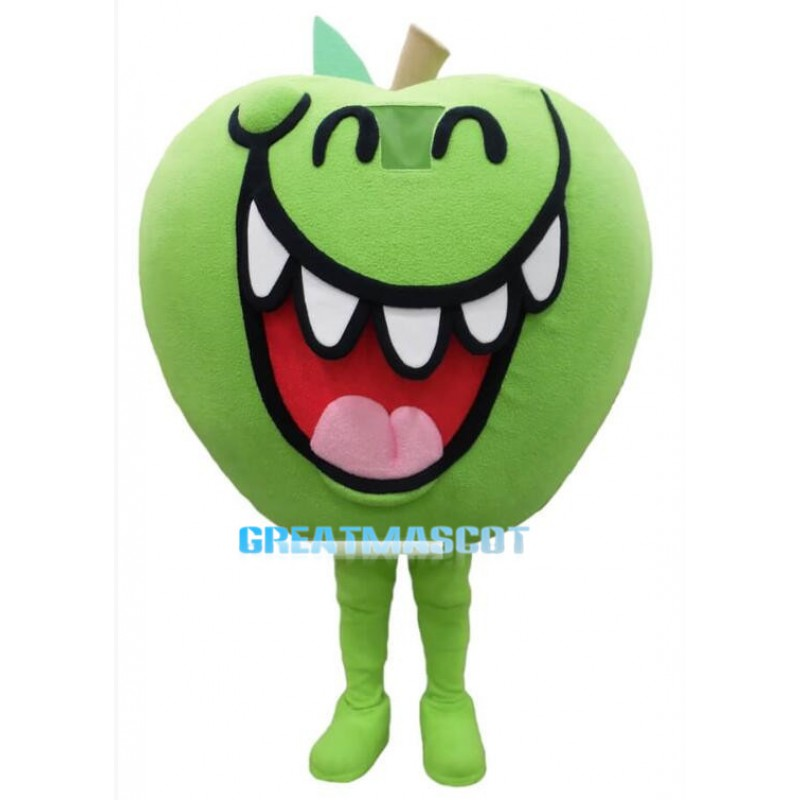 Grinning Cartoon Green Apple Lightweight Mascot Adult Costume