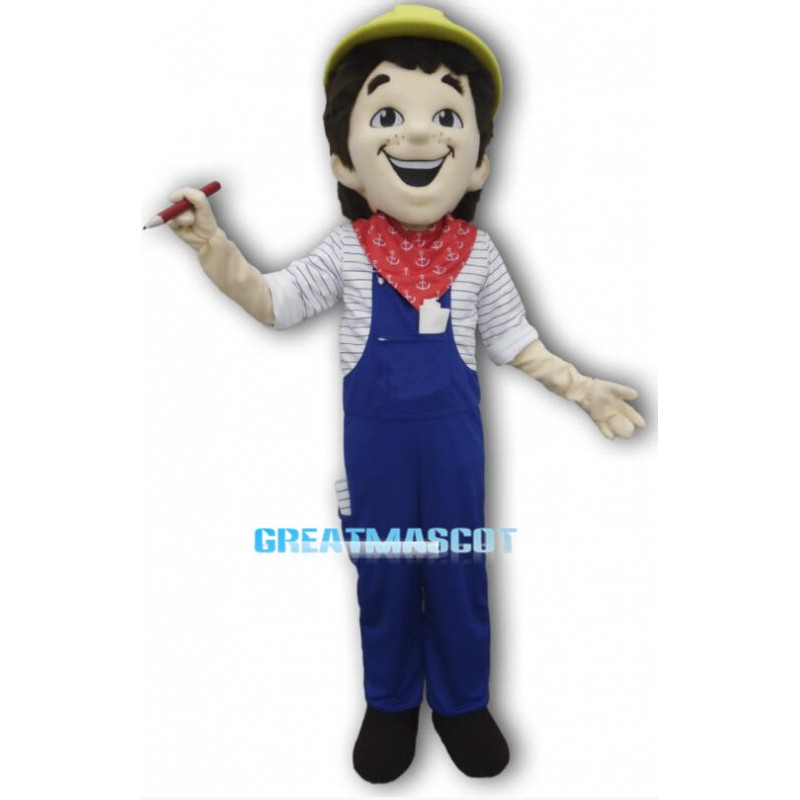 Smiling Construction Worker Mascot Costume