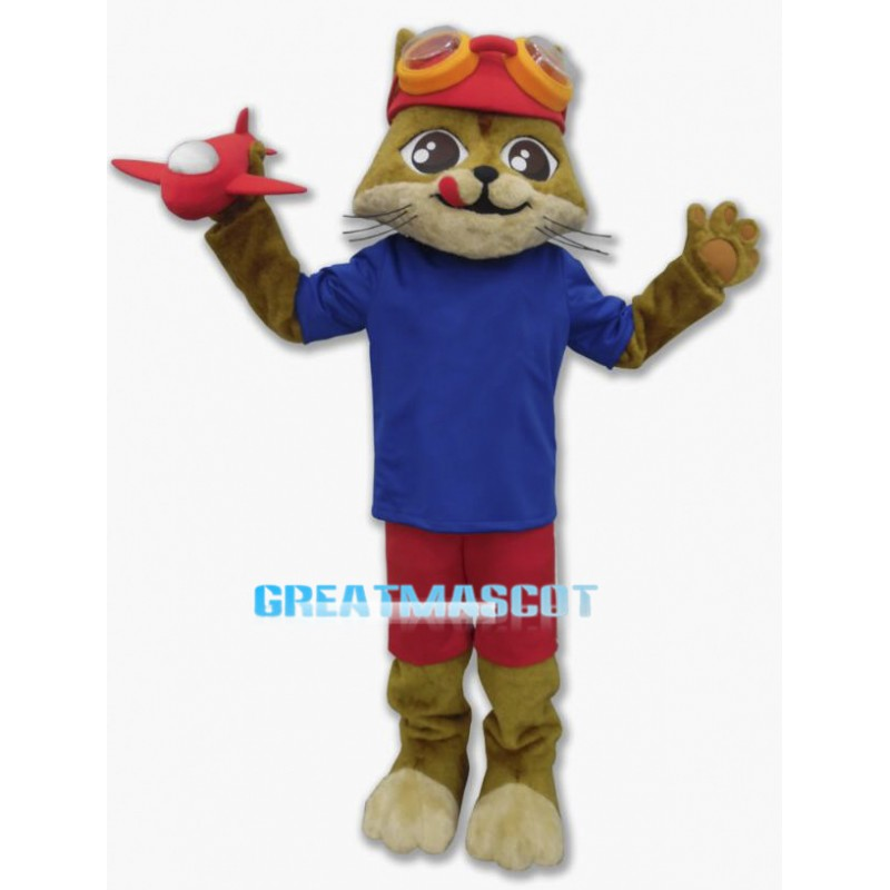 Lovely Brown Cat Aviator Mascot Costume With Red Airplane Model
