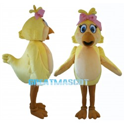 Graceful Cartoon Yellow Chicken Mascot Costume