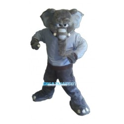 Angry Plush Gray Elephant Mascot Costume