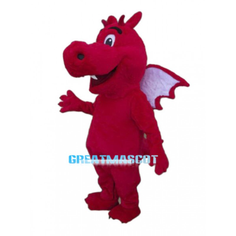 Lovely Red Dragon Mascot Adult Costume