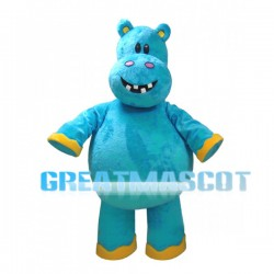 Cartoon Blue Hippo Mascot Adult Costume