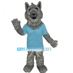 Silly Gray Wolf Mascot Costume
