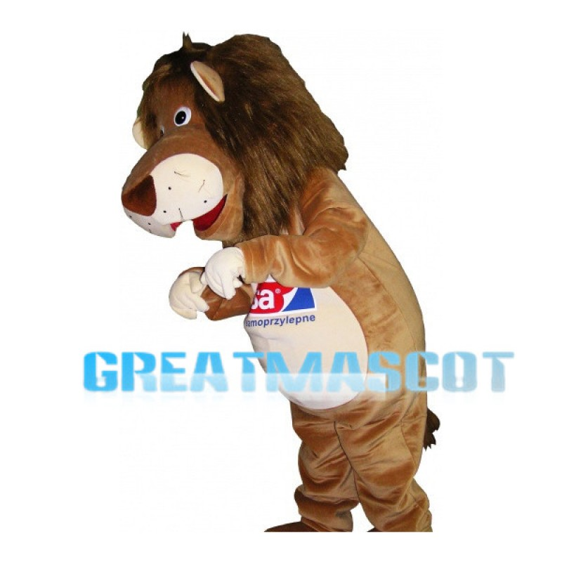 Long Hair Brown Lion Mascot Costume