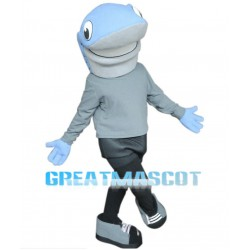 Cartoon Big Mouth Blue Shark Mascot Costume Animal Fancy Dress
