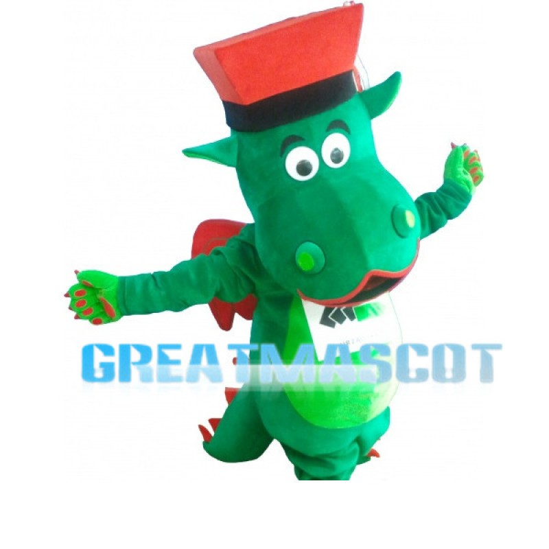 Cartoon Green Flying Dinosaur With Big Mouth Mascot Adult Costume