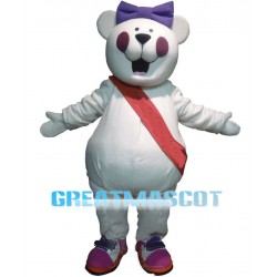 Cute Cartoon White Bear Mascot Costume With Purple Blush