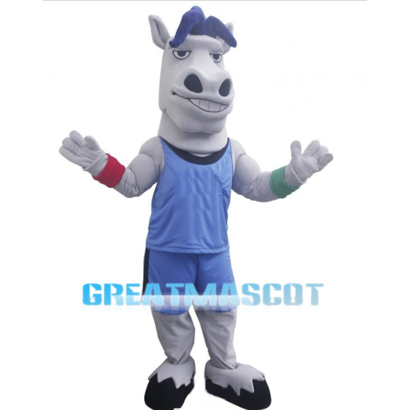 Sport Power Grey Horse Mascot Costume