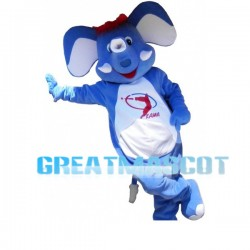 Cute Blue Elephant With Red Hair Mascot Costume