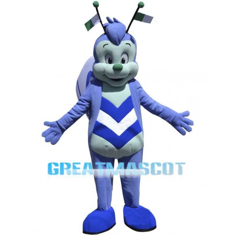 Adult Cartoon Blue Butterfly Mascot Costume