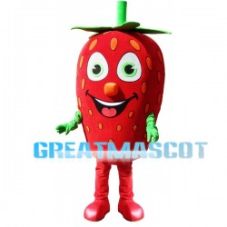 Smiling Cartoon Strawberry Lightweight Mascot Adult Costume