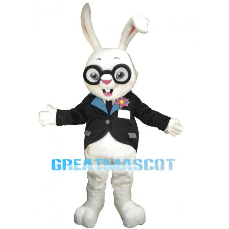 White Rabbit Bunny Manager Mascot Adult Costume