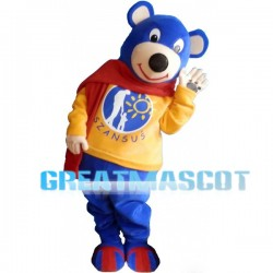 Friendly Cartoon Blue Bear Mascot Adult Animal Fancy Dress Costume