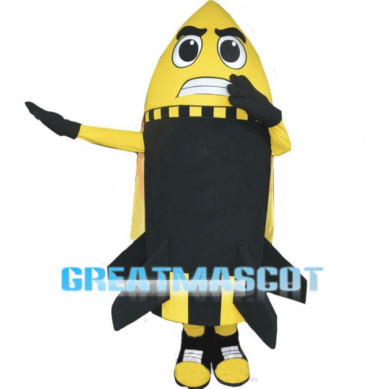 Angry Cartoon Yellow Missile Mascot Adult Costume