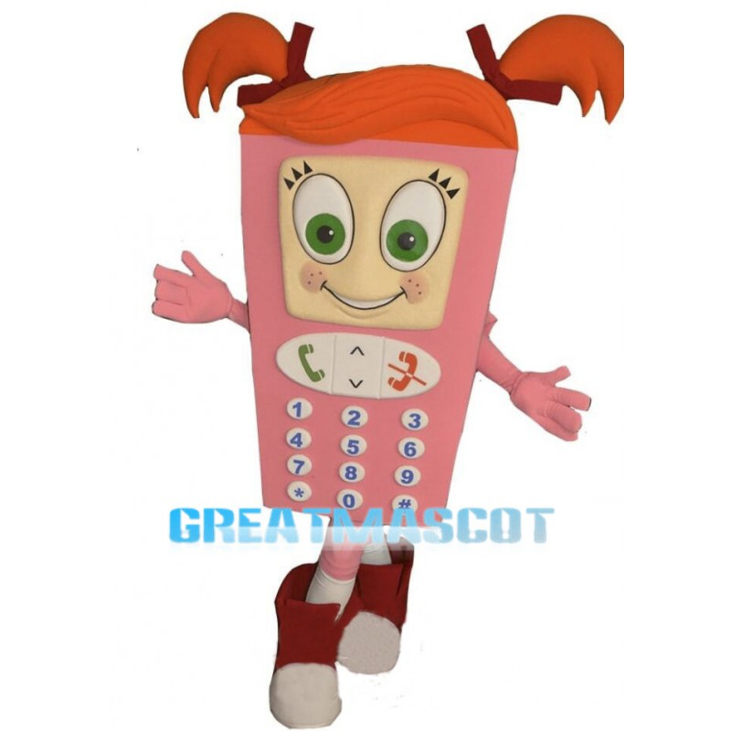 Cute Cartoon Pink Cell Phone Girl Mascot Costume