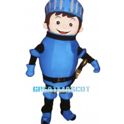 Friendly Blue Soldier Mascot Costume
