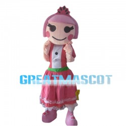 Happy Smiling Girl With Pink Hair Mascot Costume