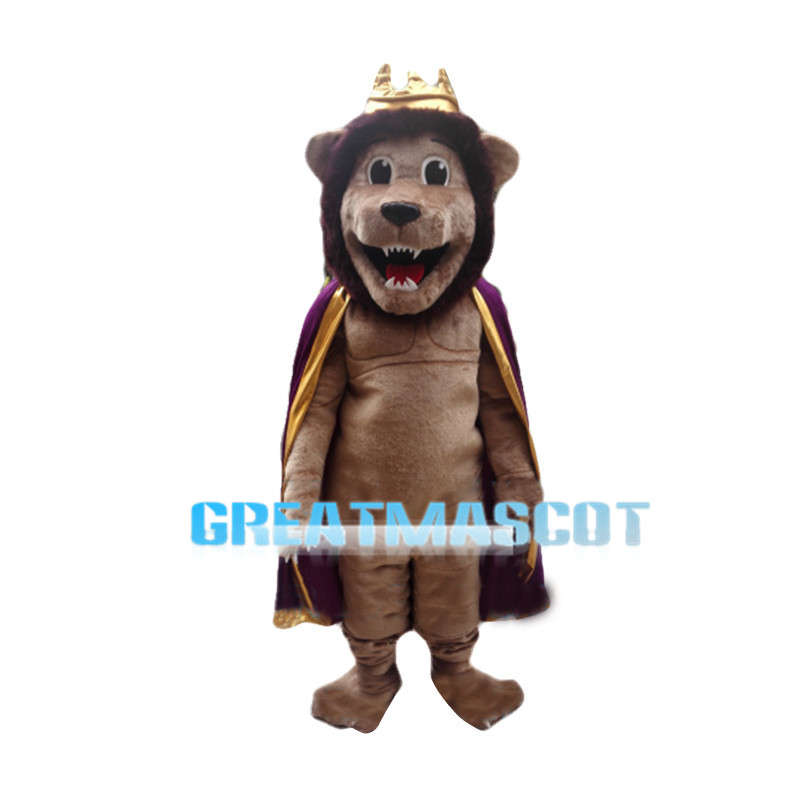 Genial Lion King With Crown Mascot Costume