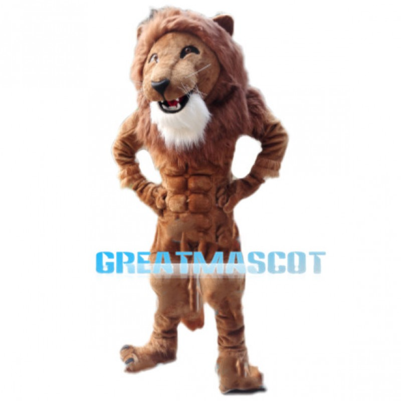 Elated Muscle Lion Mascot Costume
