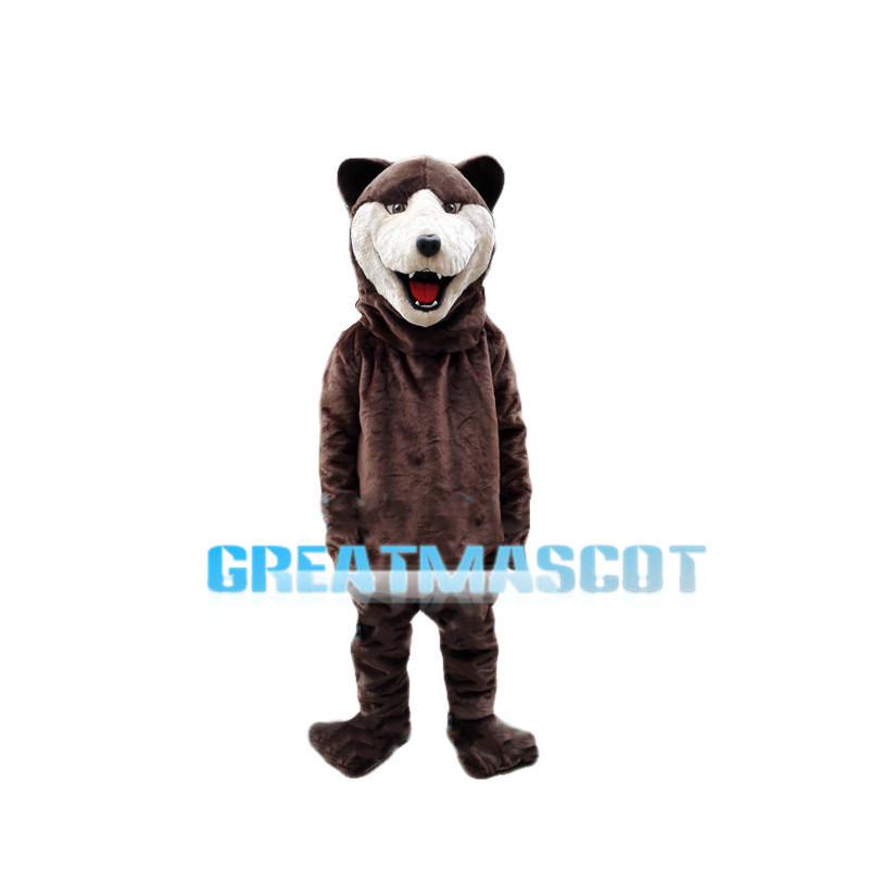 Upbeat Brown Bear Mascot Costume