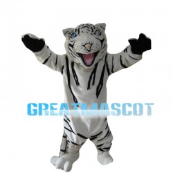White Tiger With Blue Eyes Mascot Costume
