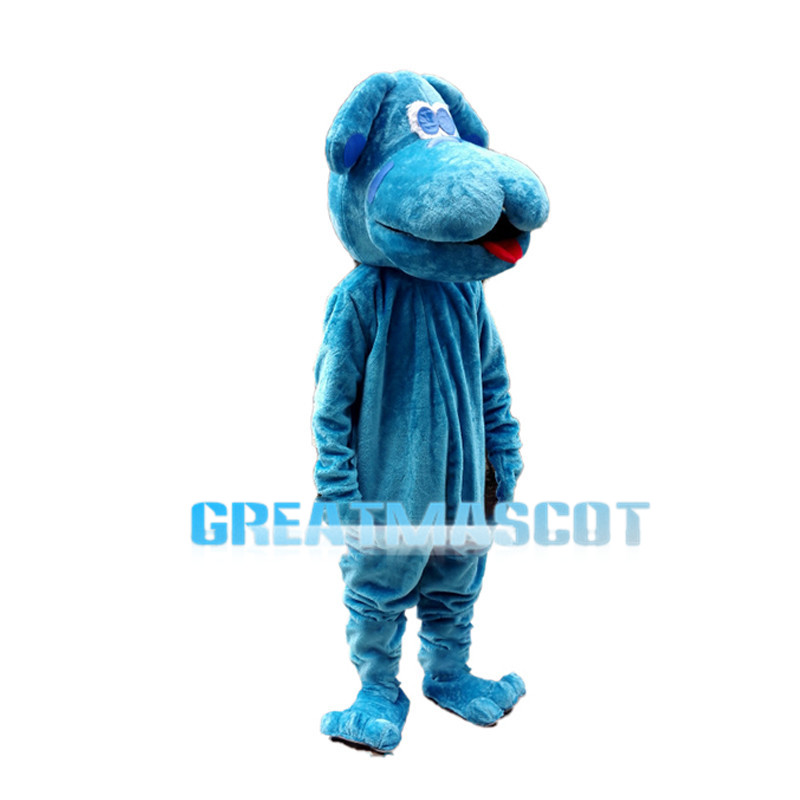 Super Lovely Blue Dog With Big Mouth Mascot Costume