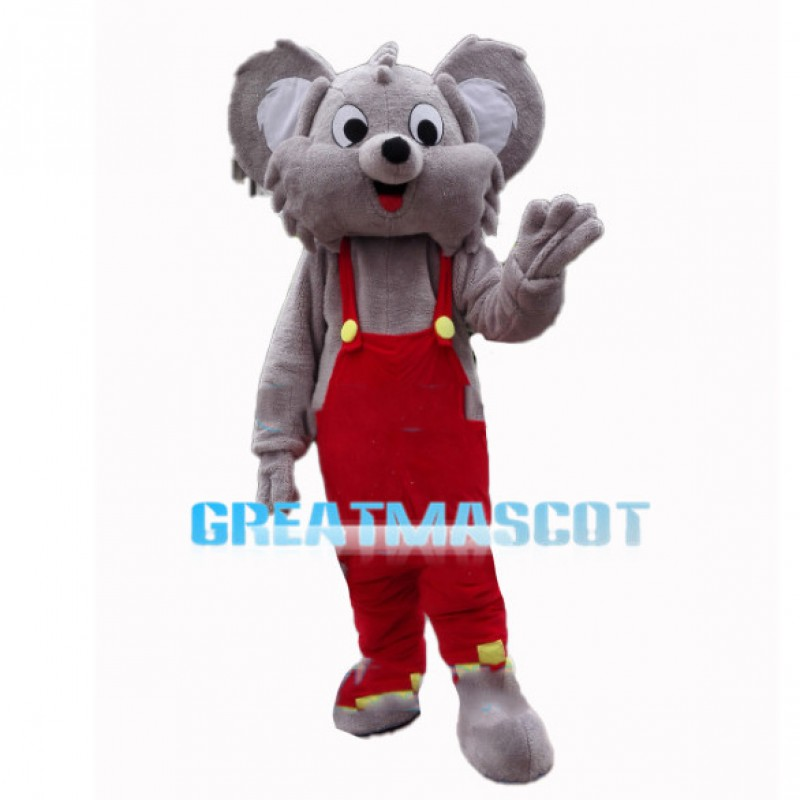 Cute Koala Wearing Red Overalls Mascot Costume