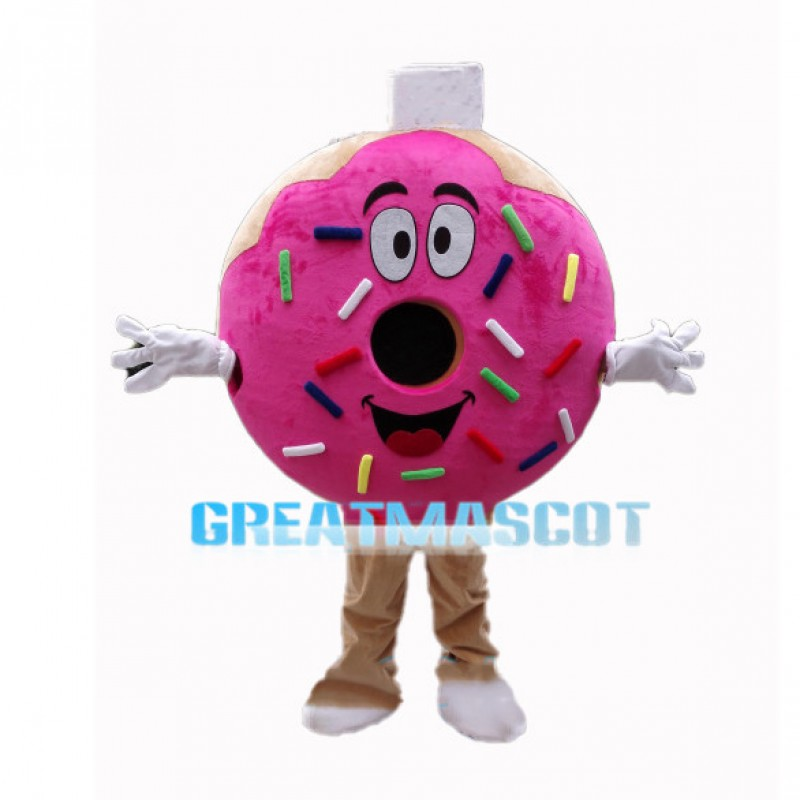 Pink Donut With Colored Sugar Granules Mascot Costume