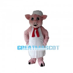 Pig Chef With White Apron Mascot Costume