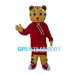 Lovely Cartoon Tiger With Red Coat Mascot Costume