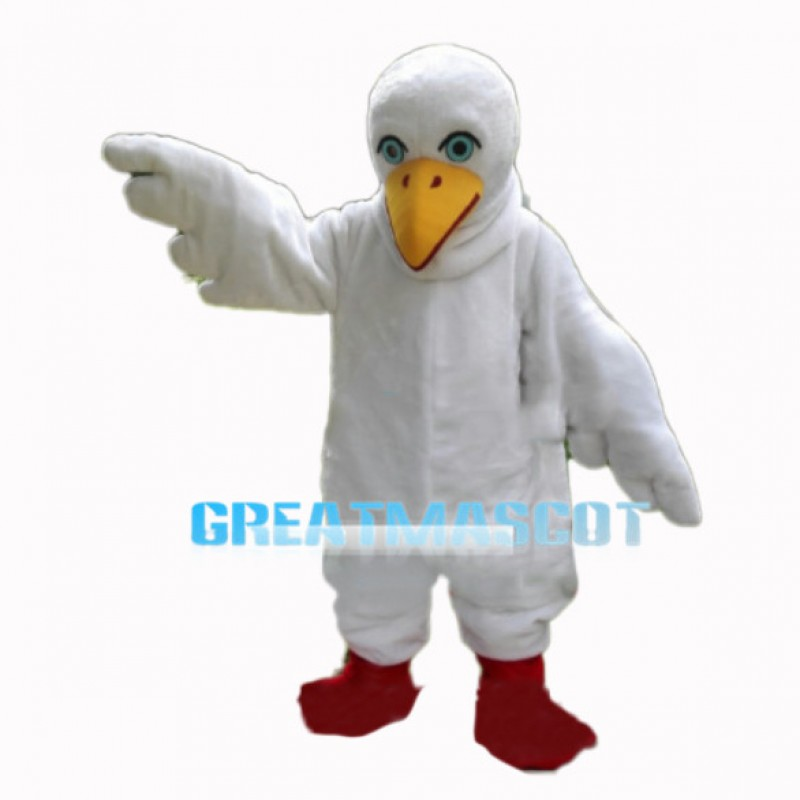 White Bird With Light Blue Eyes Mascot Costume