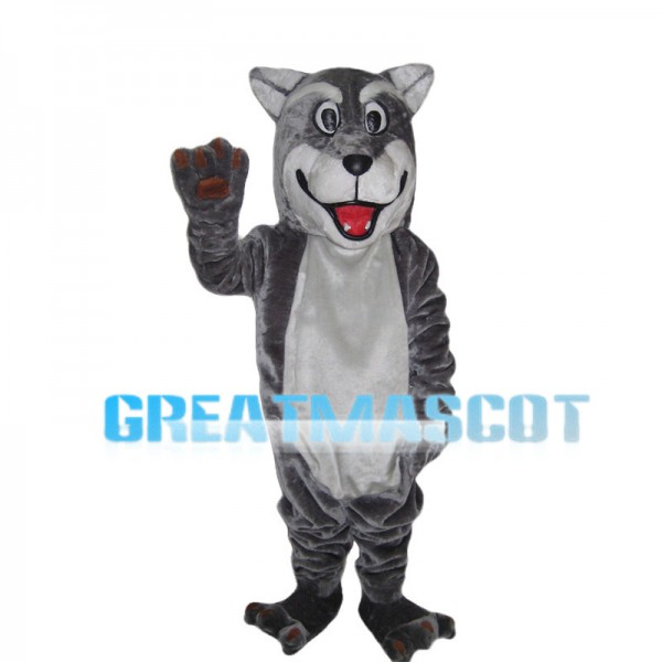 Grey Wolf With Open Mouth Mascot Costume