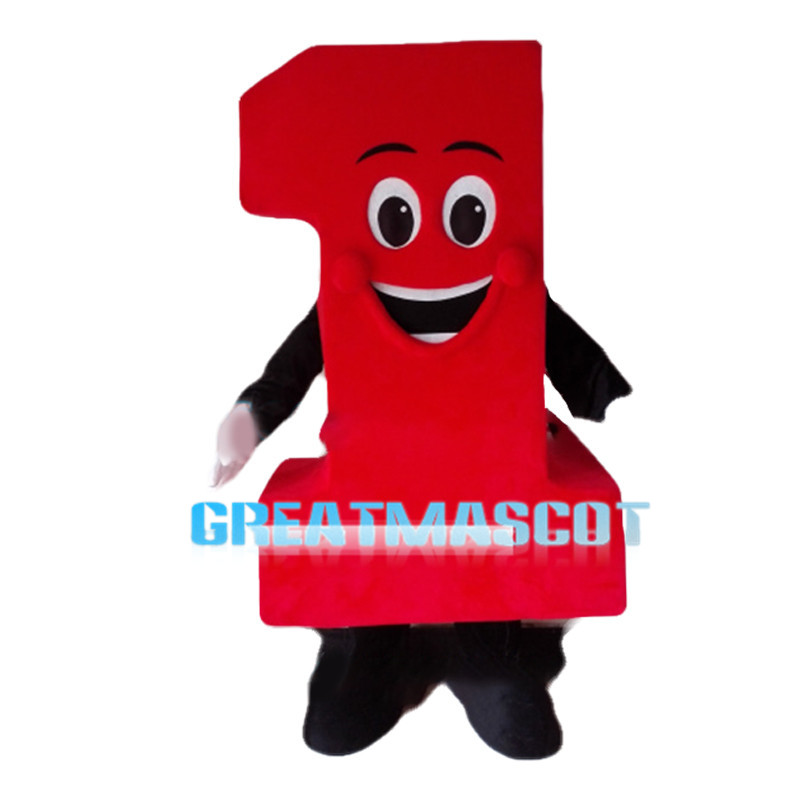 Red Cartoon Number One Mascot Costume