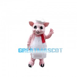Pink Pig Chef With Red Towel Mascot Costume