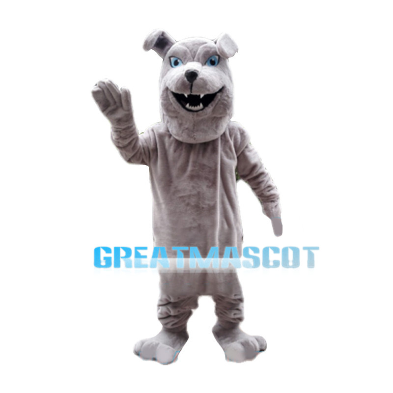 Friendly Gray Bulldog Mascot Costume