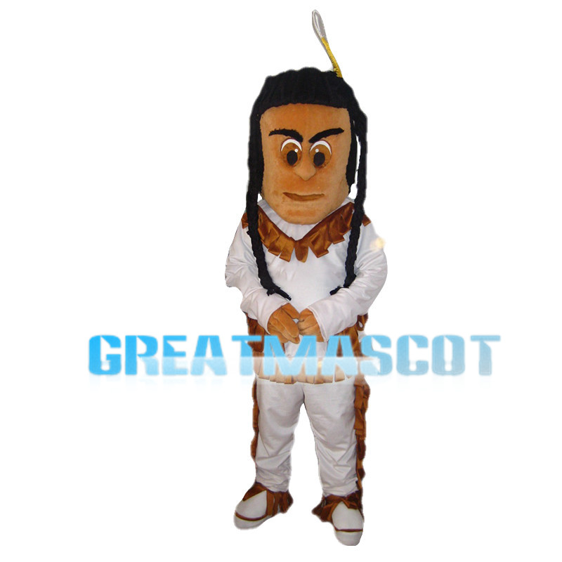 Ethnic Minority Man With Pigtails Mascot Costume