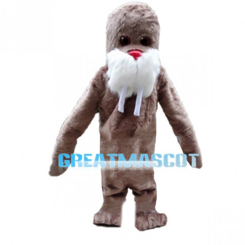 Brown Walrus With Long Teeth Mascot Costume