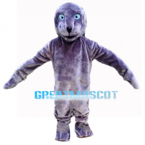 Purple Seal With Light Blue Eyes Mascot Costume